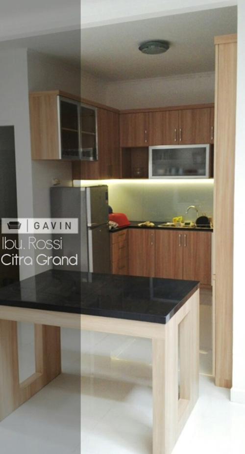model kitchen set minimalis dengan minibar kitchen set