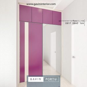lemari pakaian minimalis finishing hpl & kaca cermin