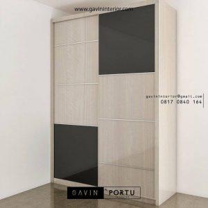 lemari pakaian sliding 2 pintu motif kayu ID3747