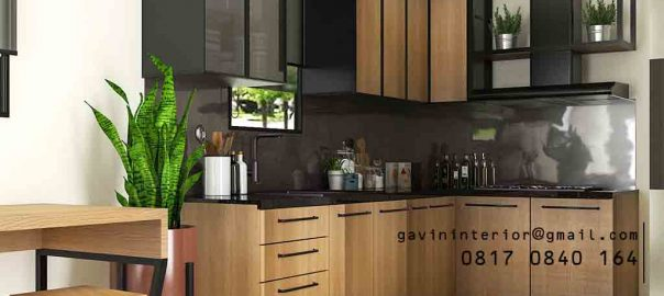 Kitchen Set Minimalis Motif Kayu & Black Project Royal Palm Taman Surya Cengkareng Id4517PT
