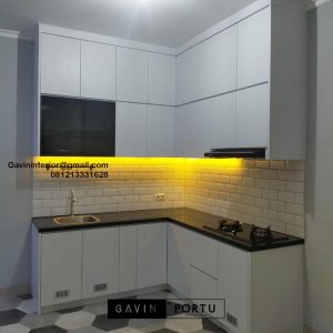 Harga Kitchen Set Minimalis Putih Perumahan Villa Rizki Ilhami Kelapa Dua Tangerang ID4823
