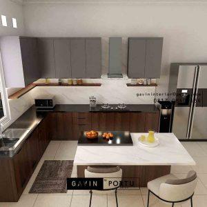Kitchen Set Minimalis Motif Kayu & Grey Perumahan Kayu Putih Pulo Gadung Jakarta ID5045P