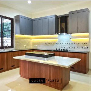 Kitchen Set Minimalis Motif Kayu & Grey Perumahan Kayu Putih Pulo Gadung Jakarta Timur ID5045P