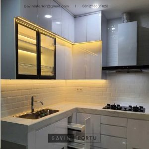 Design Kitchen Set Minimalis Putih Glossy Perumahan Vanya Park BSD Pagedangan Tangerang ID4801P