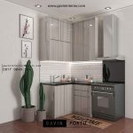 Desain kitchen set minimalis finishing HPL motif serat kayu