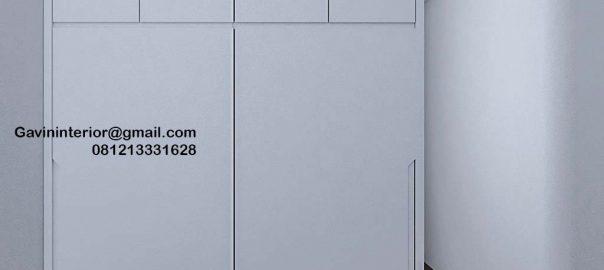 Lemari Pakaian Sliding Putih Apartemen Marbella Kemang Residence Mampang Prapatan Id4774P