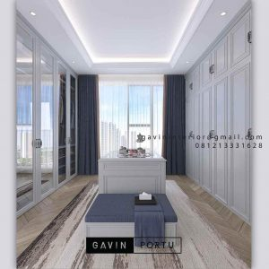 Ide Buat walk in closet Desain Semi Klasik finishing Duco Kombinasi Kaca